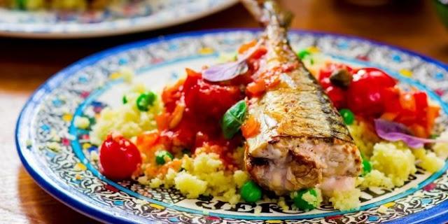 سمك السردين مع الكسكس من المطبخ التونسي الشهي