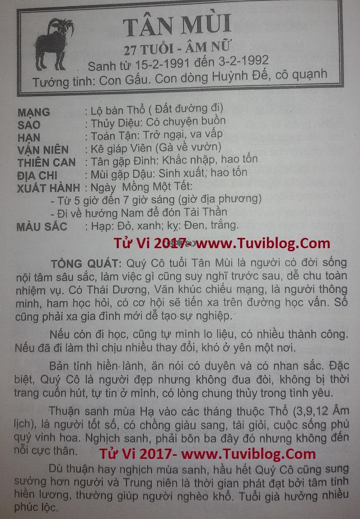 Tu vi 2017 tuoi Tan Mui nu mang 1991