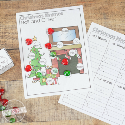 FREE Printable Christmas Rhymes Activity for Preschool, Kindergarten, first grade, 2nd grade