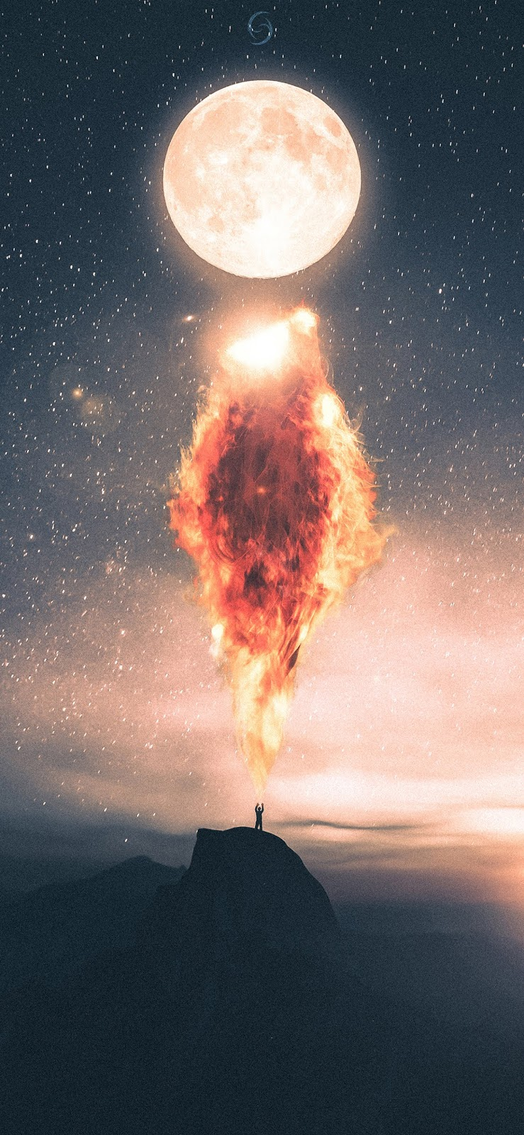 Fire at the moon iphone XS MAX wallpaper