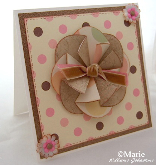 pink and coffee brown handmade card with rosette floral central design
