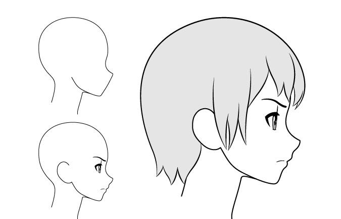 Gadis anime mengerutkan kening gambar pemandangan samping