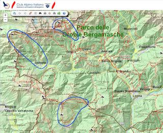 CAI Bergamo map - Three hikes in Val Taleggio and Alta Val Brembana.