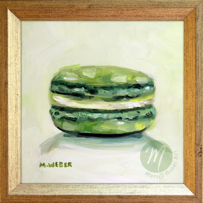 green-french-macaron-oil-painting-merrill-weber