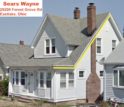 Sears Wayne Eastlake Ohio, porch roof highlighted