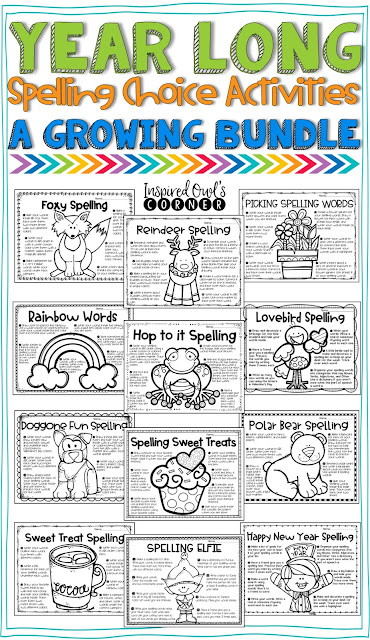 Monthly Spelling Choice Activities that are perfect for your 2nd, 3rd, or 4th grade classroom during your literacy block/Daily 5. {second, third, fourth grades, spelling, word work, writing, vocabulary}