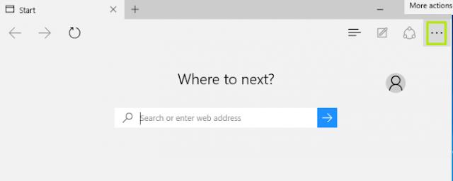 Tampilan Microsoft Edge pada Windows 10