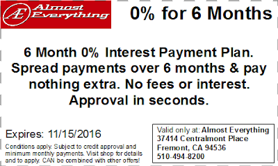 Coupon 6 Month Interest Free Payment Plan October 2016