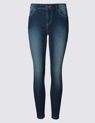 Marks and Spencer Washed Look Skinny Denim Jeans With Modal