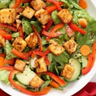 Crunchy Vegan Asian Salad With Baked Tofu & Garlic Soy Maple Dressing