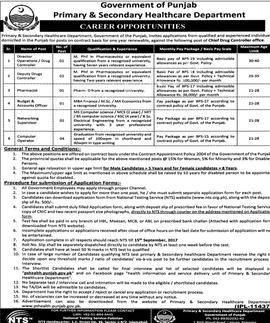 jobs in Primary And Secondary Healthcare Department Punjab aug 2017