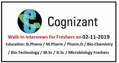 Cognizant - Walk-in interview for Freshers on 2nd November, 2019