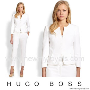 Queen Letizia Style HUGO BOSS Jeisana Textured Peplum Jacket
