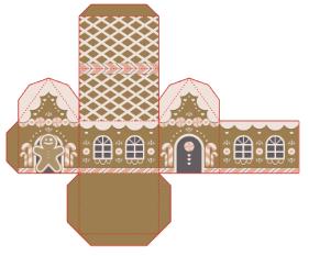 Casa de jengibre navideña para imprimir.
