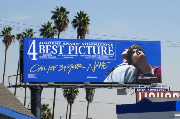 Call Me By Your Name Academy Award billboard