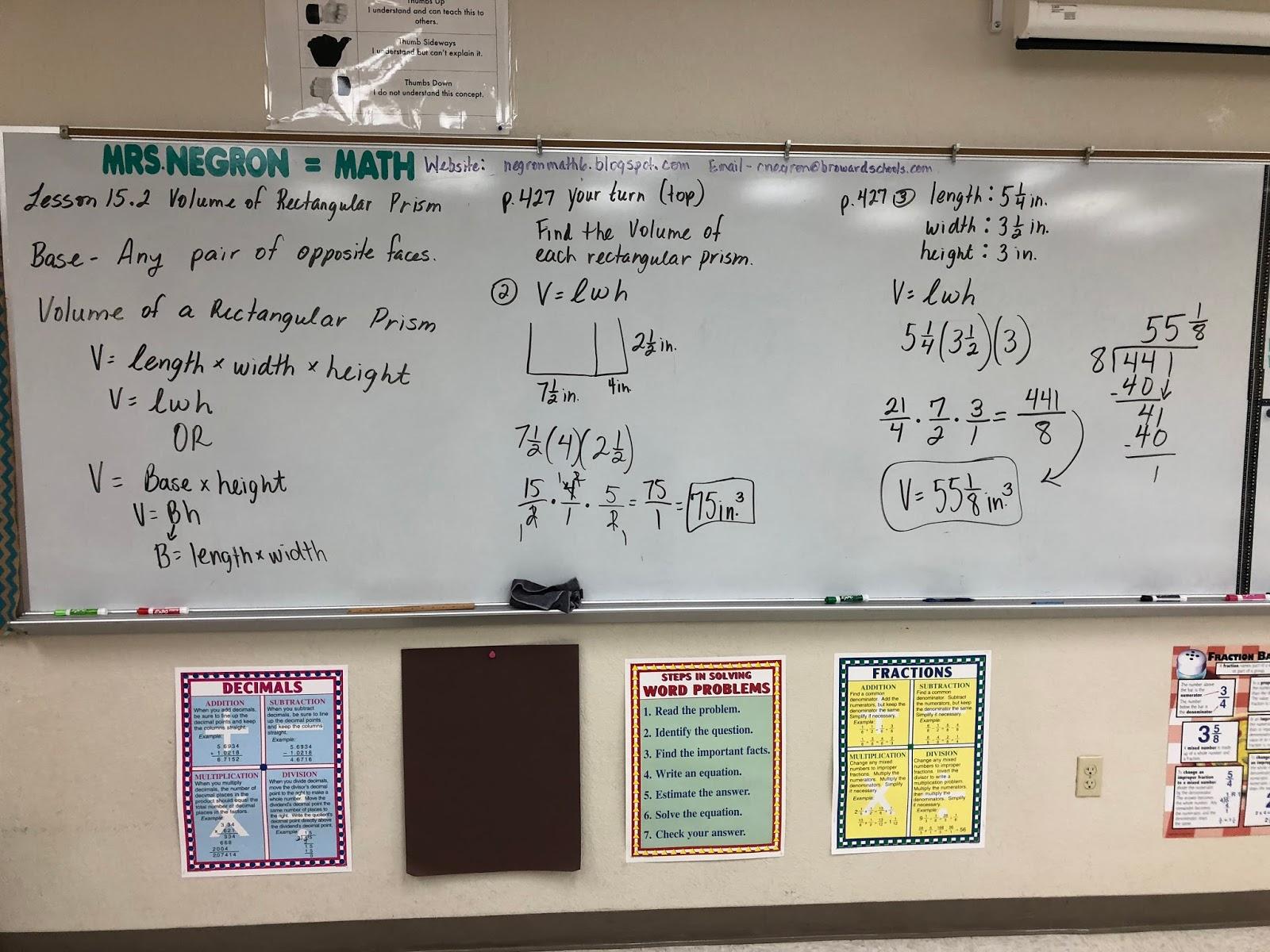 Mrs Negron 6th Grade Math Class Lesson 15 2 Volume Of