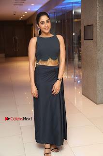 Actress Regina Candra Stills in Beautiful Blue Long Dress at Nagaram Success Meet  0176.JPG