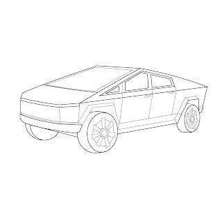 The Tesla Cybertruck Pickup Truck vector line drawing