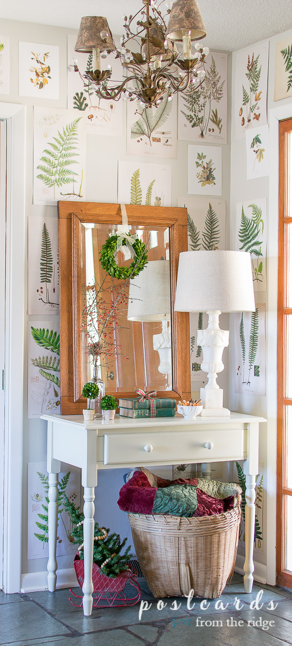 small entry with botanical prints on walls and cozy Christmas decor