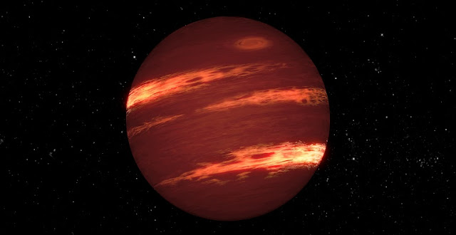 This artist's concept shows a brown dwarf with bands of clouds, thought to resemble those seen on Neptune and the other outer planets in the solar system. Image credit: NASA/JPL-Caltech