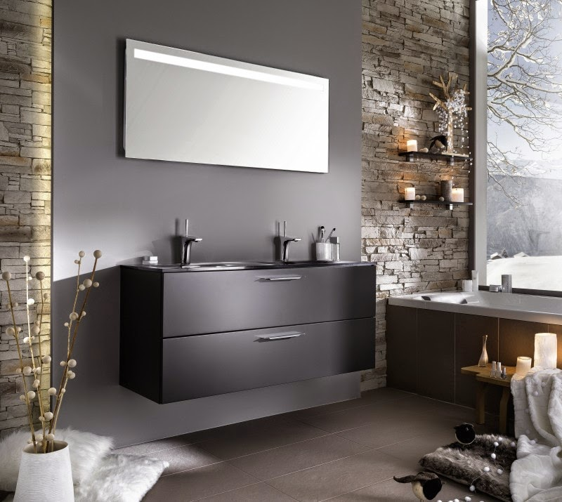deco salle de bain gris. Black Bedroom Furniture Sets. Home Design Ideas