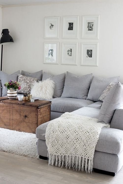Simple cozy grey living room
