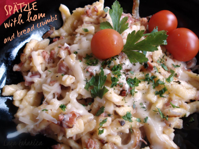 Spätzle (little sparrows) with ham and bread crumbs by Laka kuharica: comforting dish made with fresh German spätzle .