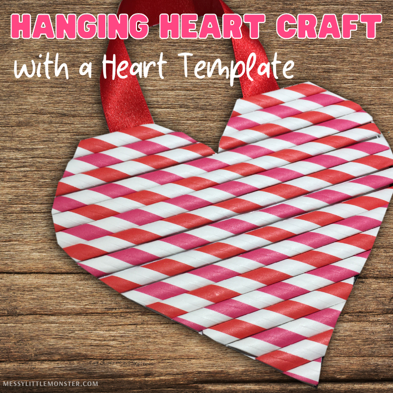 hanging heart craft with heart template