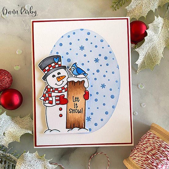 Deck the Halls with Inky Paws Week Day 3 - Dana Kirby | Snowman card using Snowman Greeting Stamp Set and Petite Snow Stencil by Newton's Nook Designs