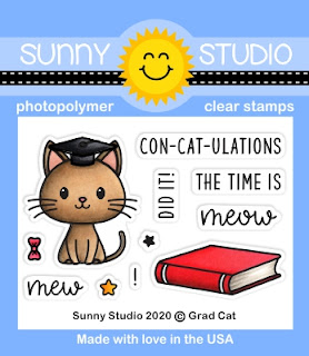Sunny Studio Blog: Grad Cat Graduation Kitty 2x3 Clear Photopolymer Stamp Set