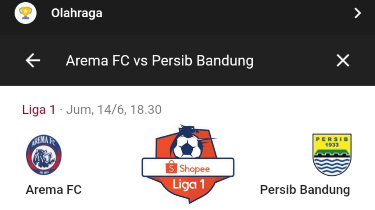 Link Live Streming Arema FC vs Persib Shopee Liga 1