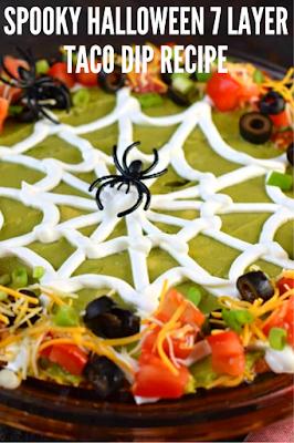 Spooky Halloween 7 Layer Taco Dip
