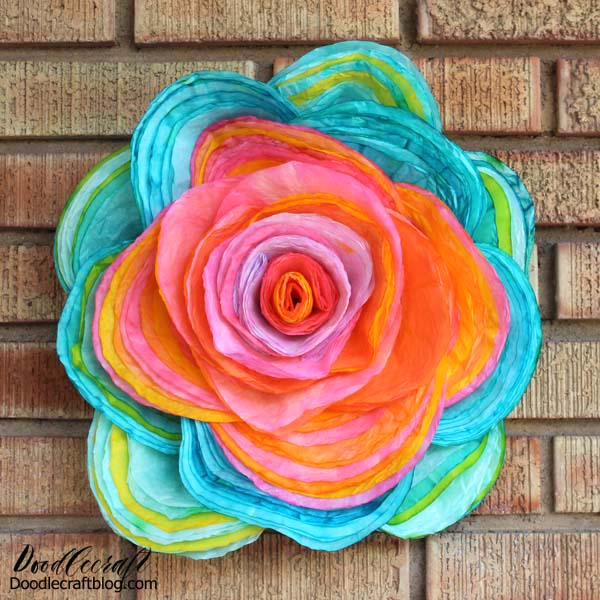 Make a giant hand dyed coffee filter flower with just a couple of supplies.