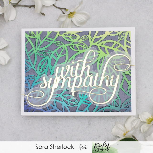 DIY Sympathy card, featuring Picket Fence Studios new Slim Line Oversized With Sympathy Word Die.  Background created with Distress Oxide ink blending, and stenciling with Paper Glaze.