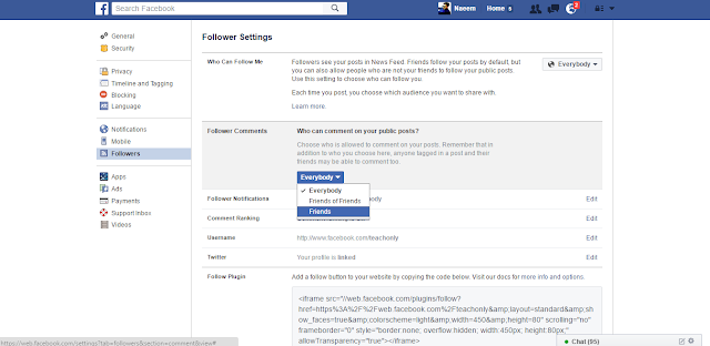 Facebook Followers Settings comment option