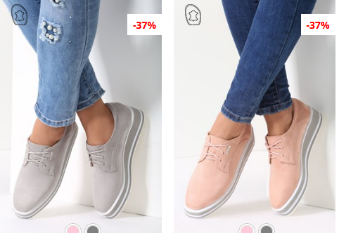 Pantofi casual dama roz, gri cu platforma moderni din piele eco intoarsa