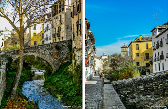 Pontes dobre o Rio Darro, na Carrera del Darro, Granada