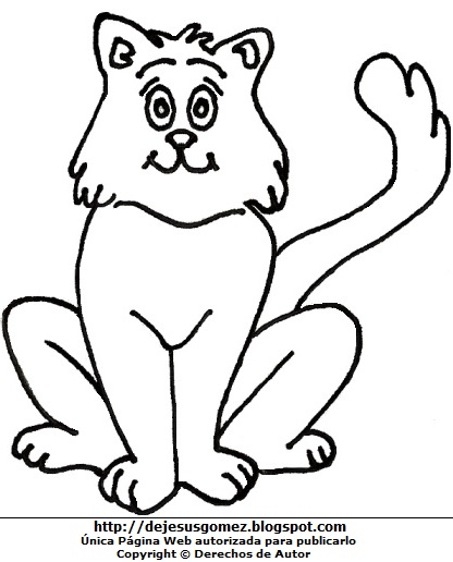 Dibujo de un gato sentado para colorear pintar e imprimir hecho para niños. Dibujo de un gato d Jesus Gómez