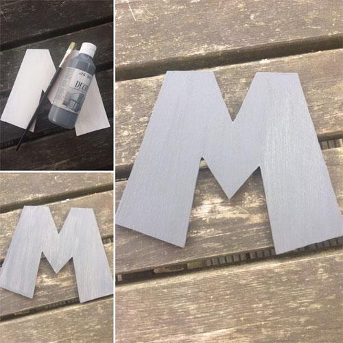 letter M mario verven voor houten kinderkapstok