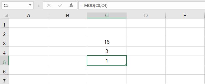 دالة القسمة في Excel