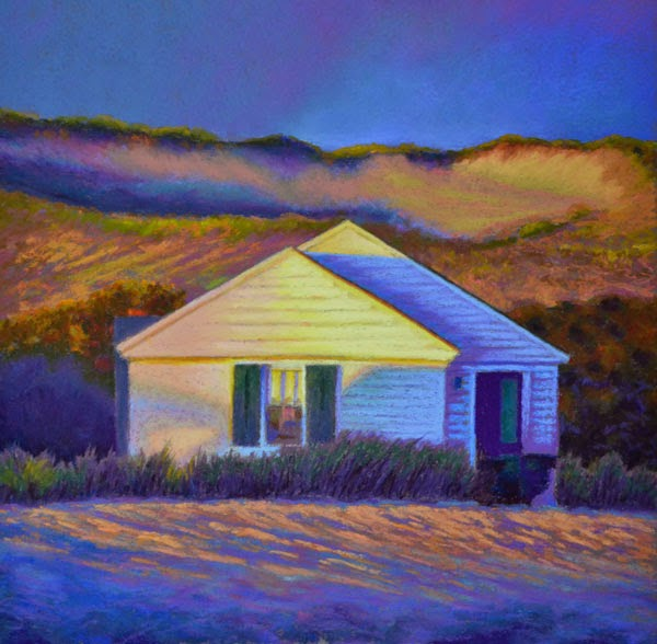 Pastel Painting: Cottage In The Dunes, Landscape Pastel