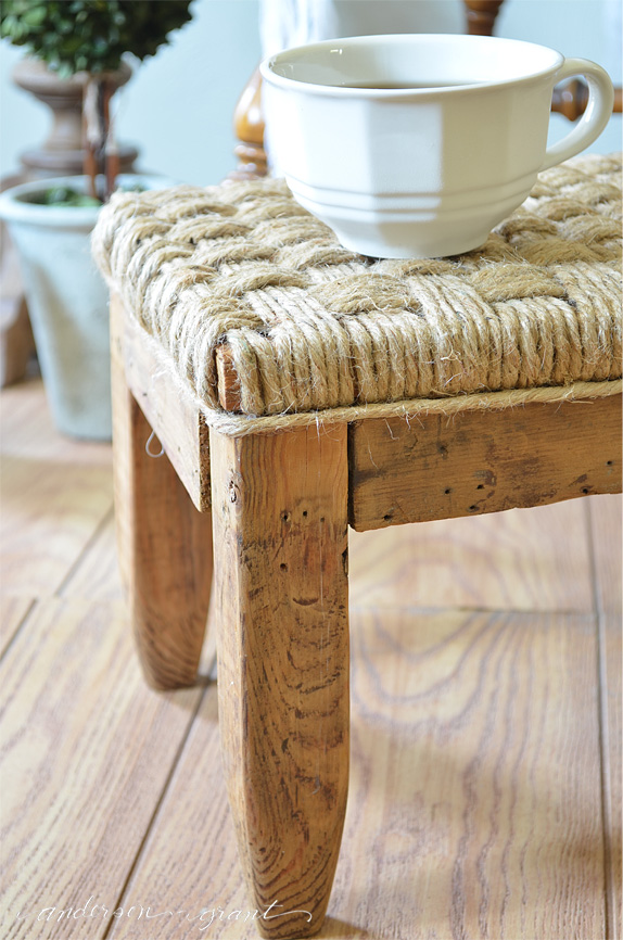 Weave jute twine around a footstool to create a unique, rustic look.  |  www.andersonandgrant.com