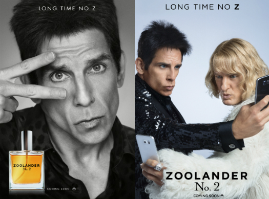 Movie posters for Zoolander 2.
