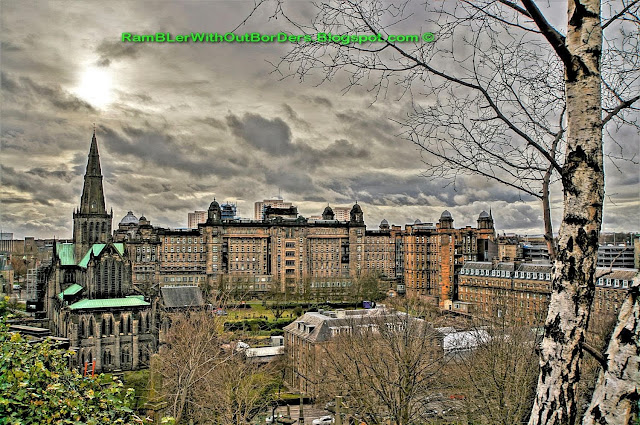 Aerial View, Glasgow Cathedral and Royal Infirmary, Glasgow Necropolis, Glasgow, Scotland, UK