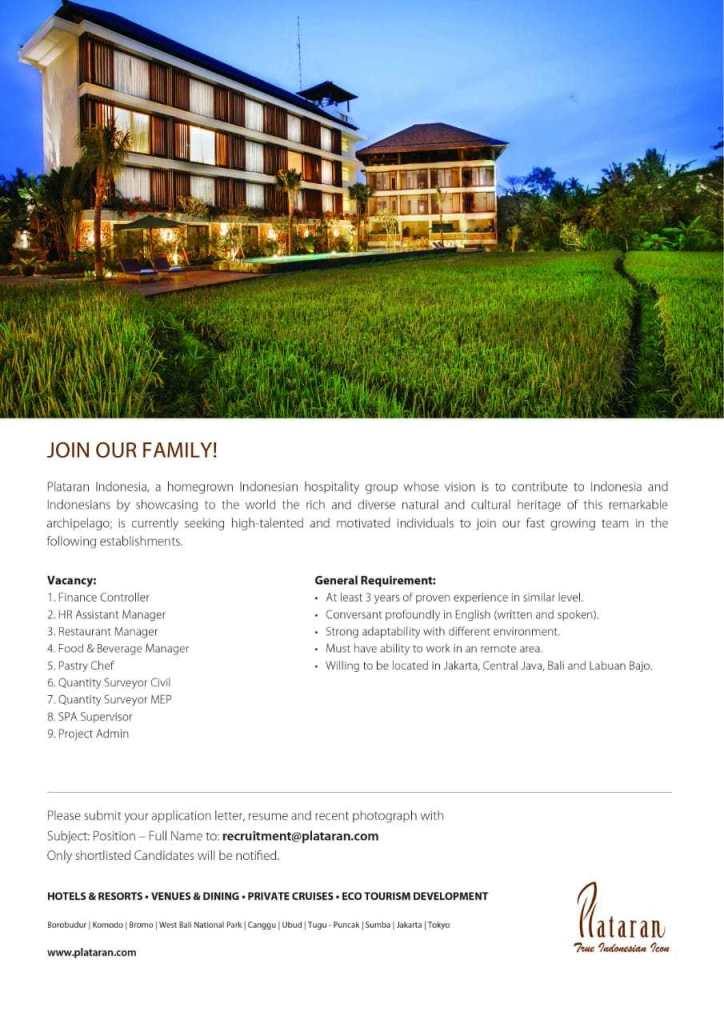 Plataran Indonesia Jobs News   Hotelier Indonesia Jobs
