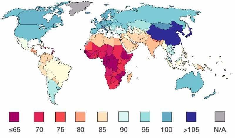 Map of IQ level by country