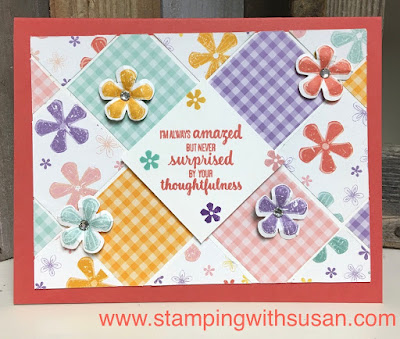Stampin' Up!, Pleased as Punch, www.stampingwithsusan.com, Thoughtful Blooms, Small Bloom Punch, Tile Card Technique,
