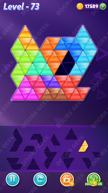 Block! Triangle Puzzle 12 Mania Level 73 Solution, Cheats, Walkthrough for Android, iPhone, iPad and iPod