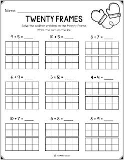 Winter math worksheet for first grade