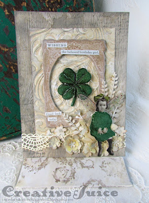 Lisa Hoel - St. Patrick's Day Birthday card, Tim Holtz and Eileen Hull dies and products  #creativejuicefreshsqueezed #mymakingstory #tim_holtz #sizzix #eileenhull